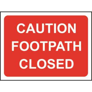 Zintec 600x450mm Caution Footpath Closed Road Sign with Frame