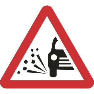 Zintec 750mm Triangular Loose Gravel Road Sign with Frame