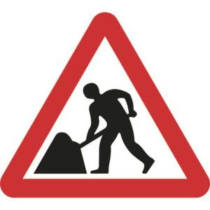 Zintec 750mm Triangular Men At Work Road Sign with Frame