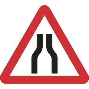 Zintec 750mm Triangular Road Narrows Both Lanes Road Sign (no frame)