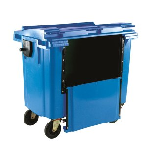 1100L Blue Wheelie Bin With Drop Down Front and Flat Lid - 1450 X 1400 X 1200