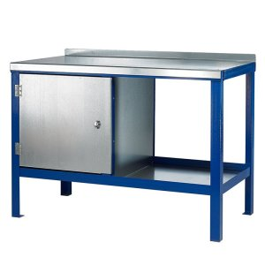 1500mm x 600mm x 840mm Steel Top HD Workbench with Cupboard, Bottom Shelf