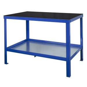 840mm x 1800mm x 750mm Rubber Topped HD Workbench with Cupboard, Bottom Shelf