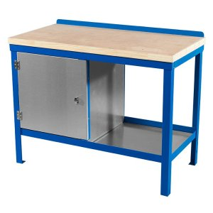 840mm x 2000mm x 600mm Wood Top HD Workbench with Cupboard, Bottom Shelf