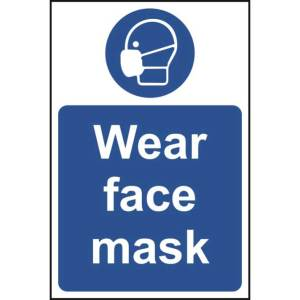 All visitors please wear face coverings Sign - Rigid PVC - 200 x 300mm