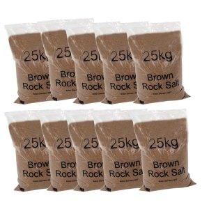 Dry brown rock salt 25kg bags - 10 bags