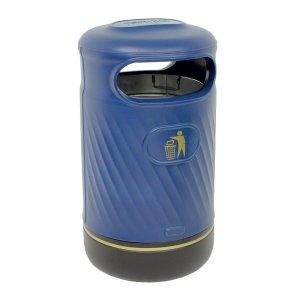 Harribin 100L outdoor litter bin with stubber plate - dark green