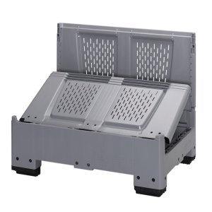 Plastic collapsible pallet box - solid sides
