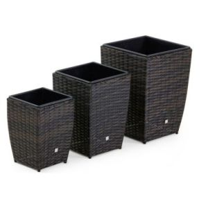 Set of 3 Square Garden Planters Brown