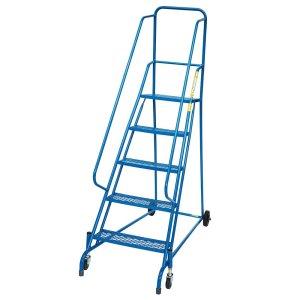 Spring Mobile Safety Steps - 5 expanded steel treads - platform height 1250mm - EN-131 & DGUV Tested