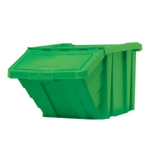 Stackable Recycling Box Bins With Hinged Lid - Red Finish