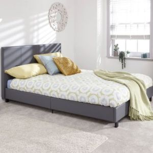 Bugi Double Bed In A Box Grey Faux Leather
