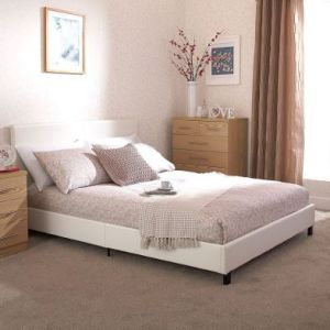 Bugi King Size Bed In A Box White Faux Leather