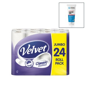24 Rolls of Velvet 3ply Classic Quilted Toilet