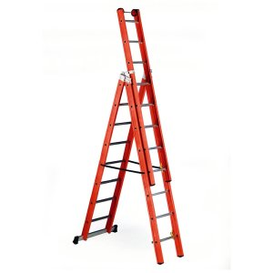 3 x 10 Rung 3 Way Glass Fibre Step Ladder- EN131 - Tested up to 100,000 volts