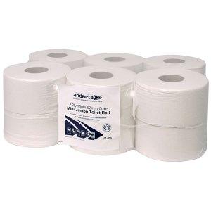 Andarta 01-019 2Ply 150m 62mm Core Mini Jumbo Toilet Roll - Pack Of 12