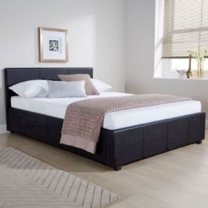 Winston Side Lift Small Double Ottoman Bed Black Faux Leather