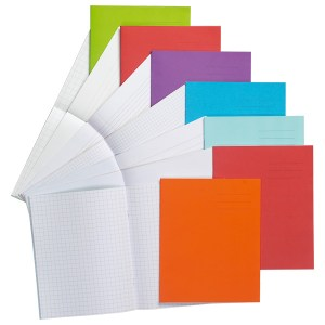 8x6.5in Exercise Book Ruled 15mm No Margin 32 Page Light Red Box o...