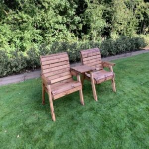 Charles Taylor 2 Seat Straight Square Twin Garden Chair Set