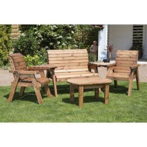 Charles Taylor 4 Seat Garden Furniture Set - Burgundy Cushion