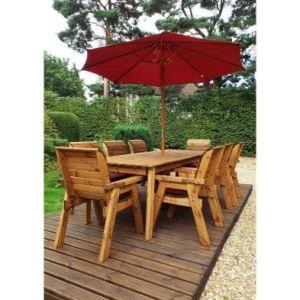 Charles Taylor 8 Seat Rectangular Garden Set - Burgundy Parasol & Base