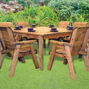 Charles Taylor 8 Seat Square Chairs Garden Table Set Grey Cushions