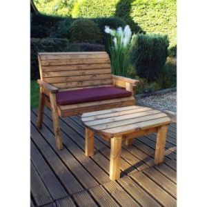 Charles Taylor Deluxe 2 Seat Bench & Oval Table Set - Burgundy Cushions