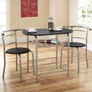 Compact 2 Seater Dining Set Black & Silver With 2 Chairs