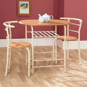 Compact 2 Seater Dining Set Oak Style & Buttermilk With 2 Chairs