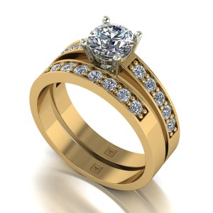 Lady Lynsey Moissanite 9ct Gold 1.20ct eq Solitaire Ring Set