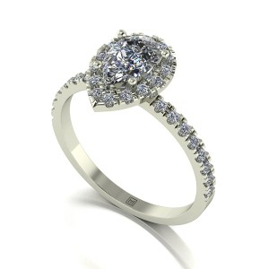 Lady Lynsey Moissanite 9ct White Gold 1.30ct eq Pear Halo Ring