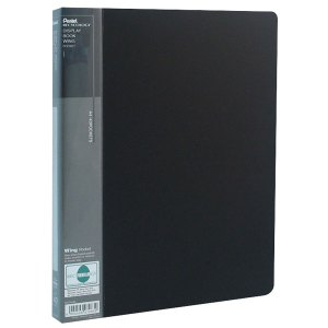 Pentel DCF444A Display Book - Wing Type - Black - 40 Pockets - A4 Size