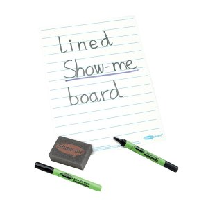 Show-Me Pack of 10 Lined Dry Wipe Boards, Pens and Erasers