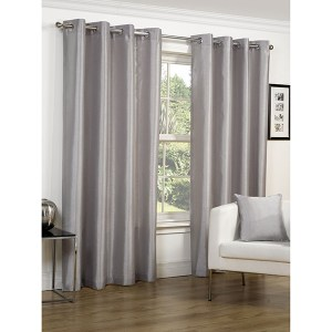 Faux Silk Lined Eyelet Curtains - 66 Inches