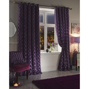Katie Chenille Velvet Jacquard Lined Eyelet Curtains - 66 Inches