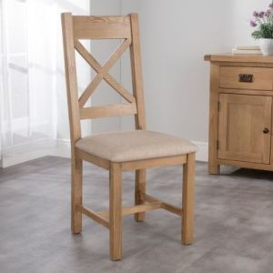 Cotswold Cross Back Dining Chair Oak With Fabric Seat