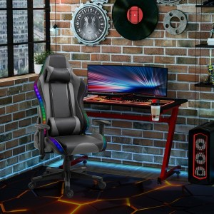 Vinsetto LED Light PU Leather Gaming Chair Thick Padding High Back w/ Pillows Black