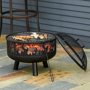 Outsunny Outdoor Fire Pit with Grill Cooking Grate W/ Cover Fire Poker Yard Bonfire Patio