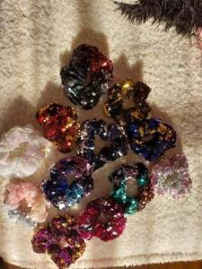 12 color Sparkly Sequins Mermaid Elastic Hair Bands Scrunchy Hair Ties Ropes Scrunchie for Women or Girls hair accessories