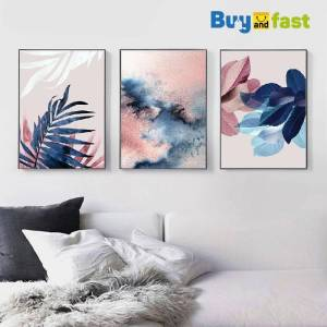 Leaf Wall Art Abstract Watercolor Pictures Canvas Painting Blush Pink Decor Tropical Posters and Prints Paintings on The Wall