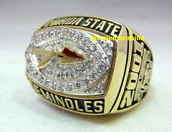 2001 FSU FLORIDA STATE SEMINOLES ORANGE BOWL CHAMPIONSHIP RING
