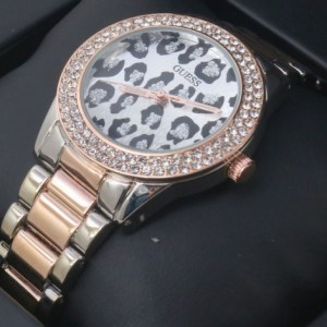 Guess-Silver-Golden-Diamond-Cheetah-Dial-Watch