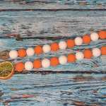 Orange And White Wood Bead Garland Buy Rae Dunn