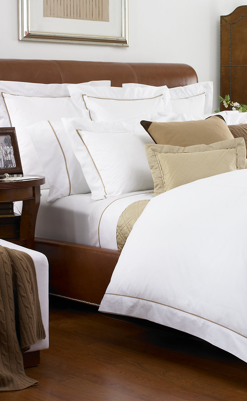 luxury bedding  buyerselect -  palmer bedding in a luxuriously soft threadcount egyptian cottonpercale is inspired by classic menswear tailoring with graphic pipingagainst a