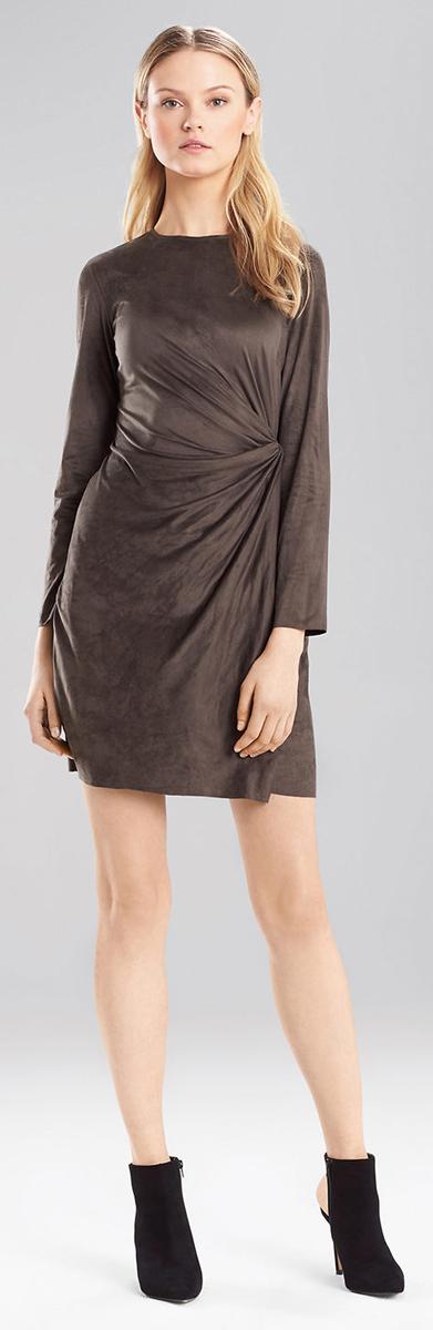 Josie Natori Ultra Suede Knot Wrap Dress