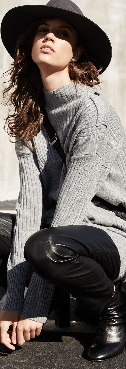 Rag & Bone Sweater & Leather Leggings Combination