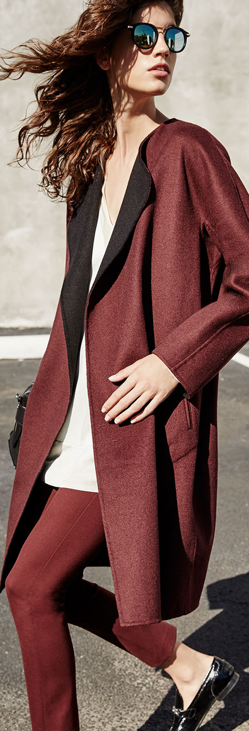 Rag & Bone Wool Coat Satin Tunic Skinny Pants