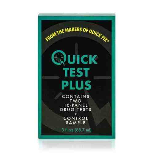 product image of a Quick Test Plus urine kit with testing strips.