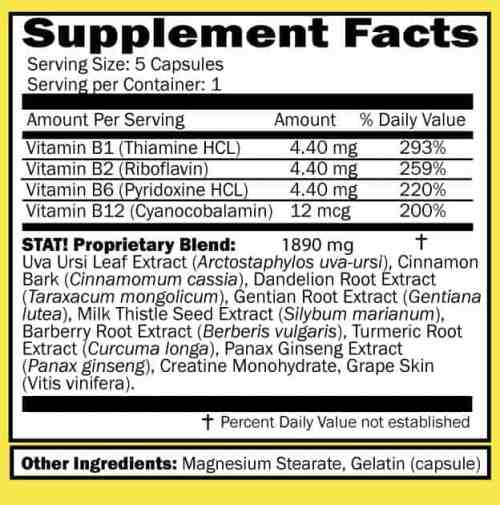Stat flush supplement facts sheet