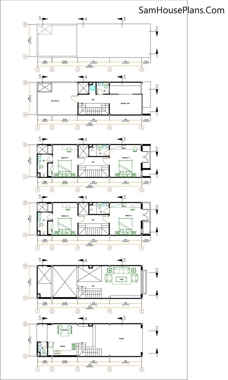 Narrow House Design Plan 4 x 13 Meter floor plan